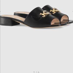 Pristine Gucci Leather Zumi Slides. Still in box
